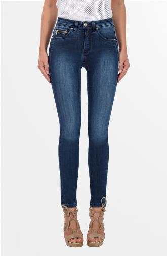 TROUSERS ADELE - dark blue washed