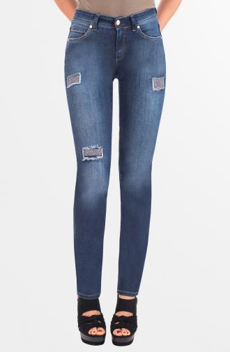TROUSERS DAISY - dark blue washed