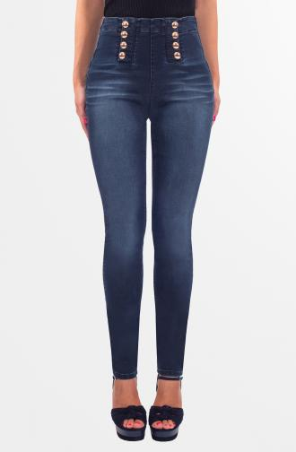 TROUSERS DIANA - dark blue washed