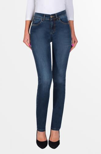TROUSERS ELLA - dark blue washed