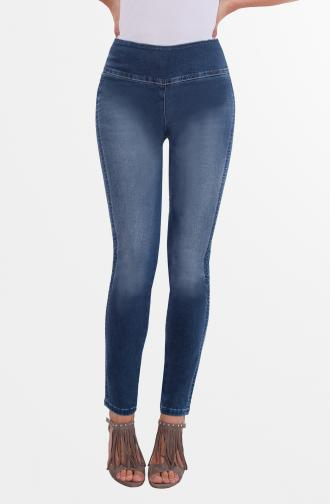 TROUSERS MADONNA - dark blue washed