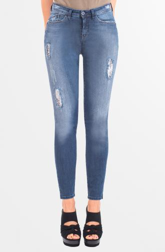 TROUSERS PAMELA - dark blue washed